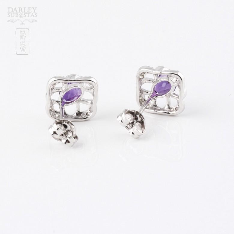 0.98克拉天然紫晶配钻石18K白金耳环 - 1