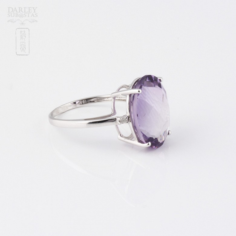 Ring with Amethys t8.97cts and diamonds in 18k white gold - 3