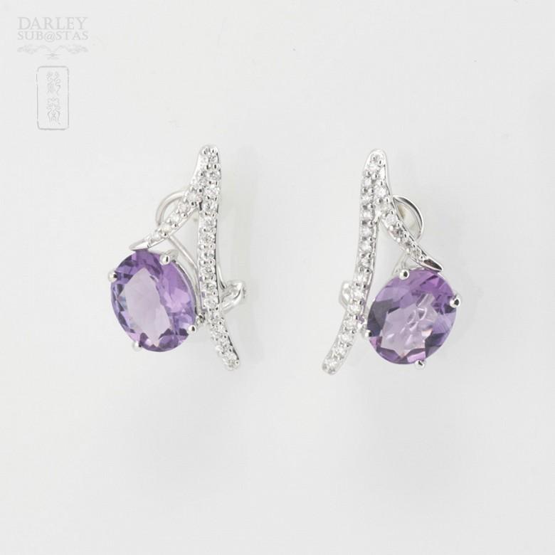 Originales pendientes amatista y diamantes - 1
