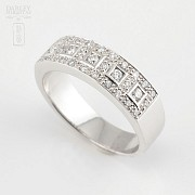 Precioso anillo diamantes 0.46cts y oro blanco 18k