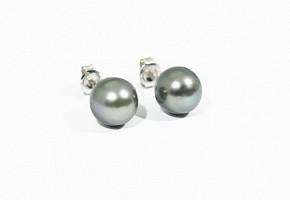 Pendientes en oro blanco de 18k con perlas de Tahití
