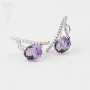 Originales pendientes amatista y diamantes - 4