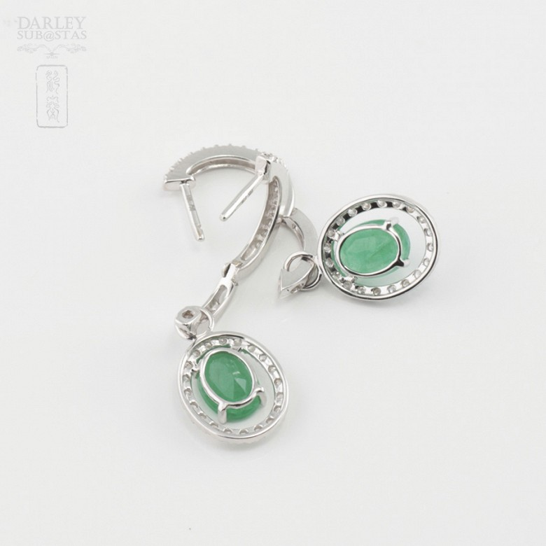 Fantastic diamond and emerald earrings - 3