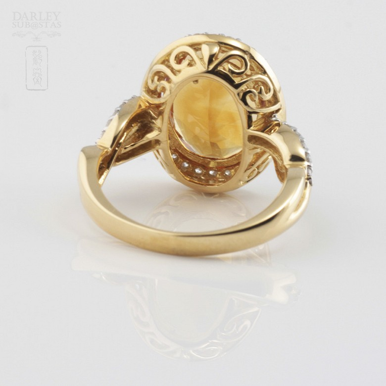 0.65cts fantastic ring with diamonds and 18k yellow gold citrine - 4
