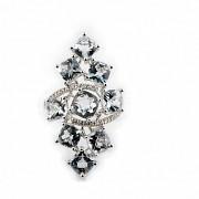 18K白金嵌7.42克拉海蓝宝石镶钻石戒指