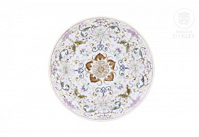Enameled dish with lotuses and bats, 20th century
