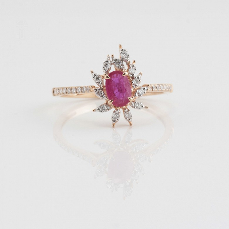 Fantastic 18k rose gold ring, ruby and diamonds - 4