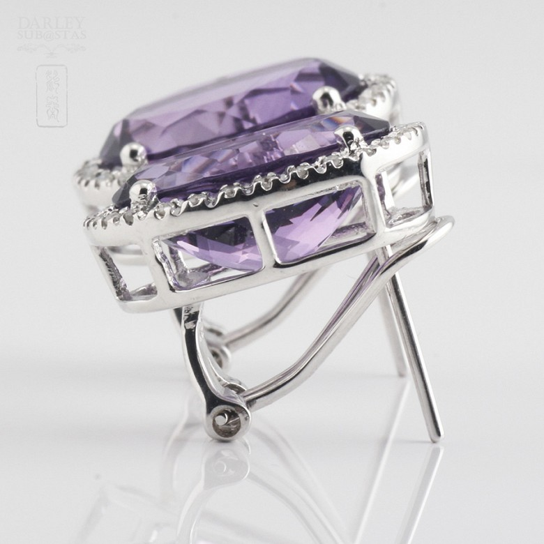 Earrings with amethyst 10.20 cts  and diamonds in white gold - 4