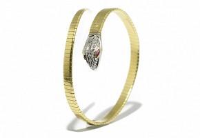 Pulsera en oro amarillo de 18 k, diamantes y rubíes