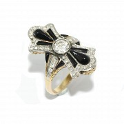 Loop shaped ring, with diamonds and onyx