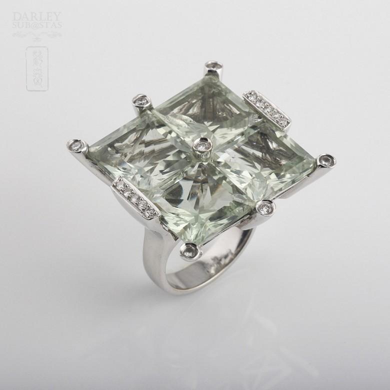 28.17克拉天然绿紫晶配钻石18K白金戒指