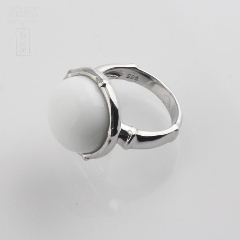 Anillo porcelana blanca en plata 925m/m - 1