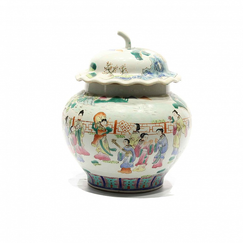 Pumpkin shape chinese porcelain jar, 20th century.