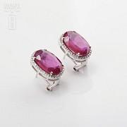 10.05克拉天然红宝石配钻石18K白金耳环 - 3