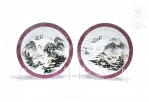 Pair of plates with landscapes, 20th century