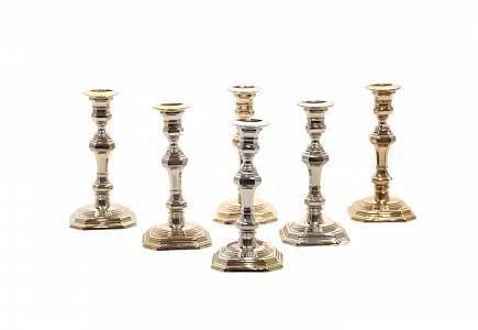 Juego de seis candeleros de plata, s.XX