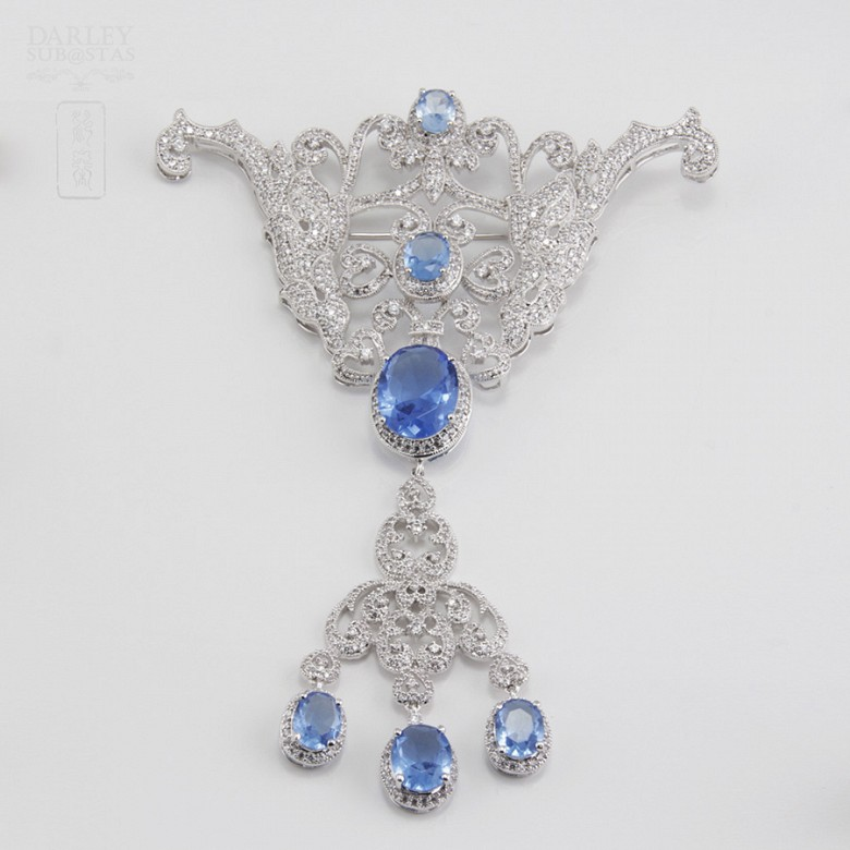 Faller blue dressing and rhodium plated - 1
