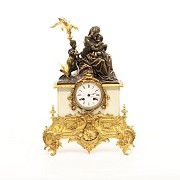 Gilt bronze and marble table clock, Barbot Paris, Finales 19th century - 1