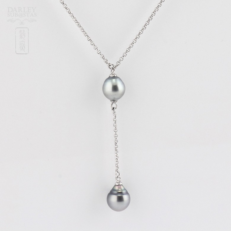 necklace with Tahitian pearl  in 925 silver - 1