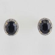 Nice earrings sapphires and diamonds - 1