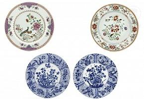 Conjunto de cuatro platos de Compañía de Indias, s.XIX.