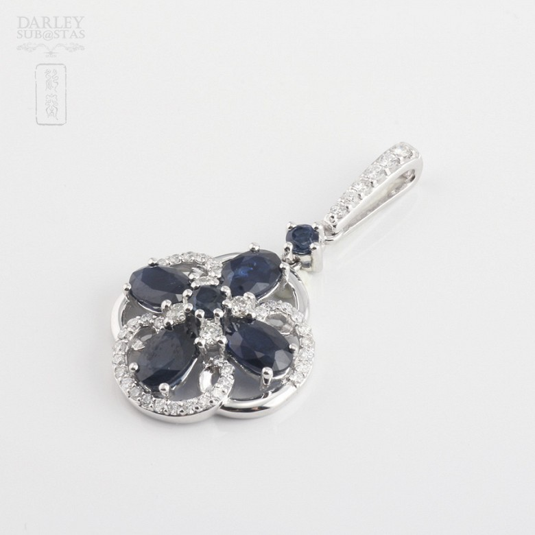 Pendant  sapphire2 .85cts and diamond  in white gold - 2