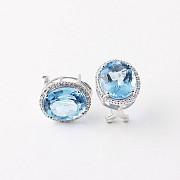 12,44 克拉天然蓝晶配钻石18k白金耳环 - 3
