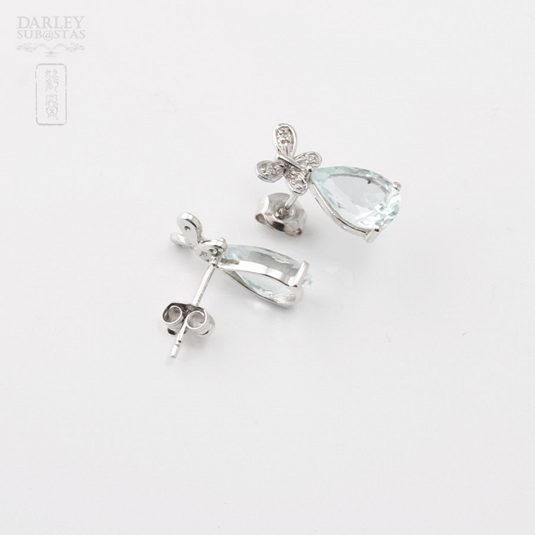 Aquamarine 3.11 cts Earrings in 18k White Gold - 2