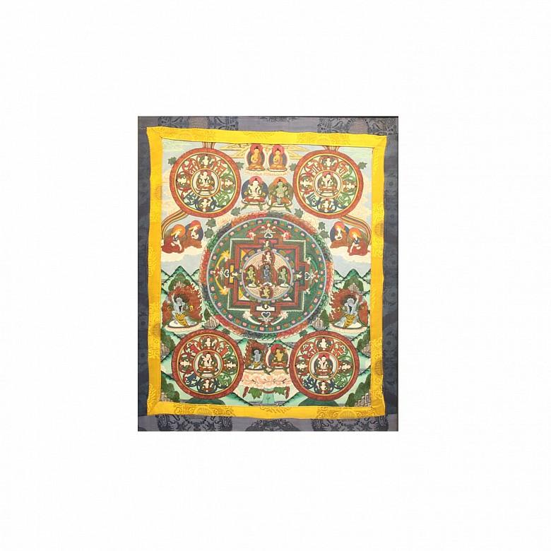 Thangka tibetano o chino, posiblemente pps.s.XX