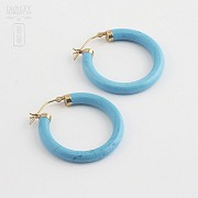 Earrings Natural turquoise in yellow gold - 3