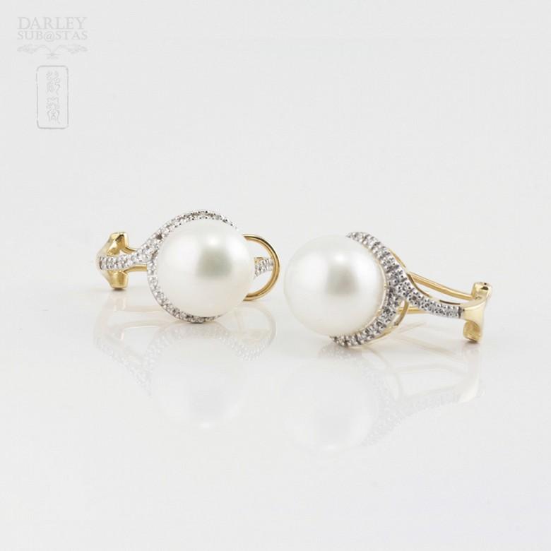 Preciosos pendientes perla y diamantes - 2