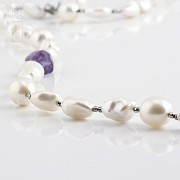 Necklace Amethyst and Pearl  in Sterling Silver, 925 - 1