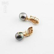 Preciosos pendientes oro bicolor y perla Tahití - 3
