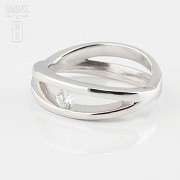 Solitaire ring-18k White Gold and Diamond 0.16cts - 4