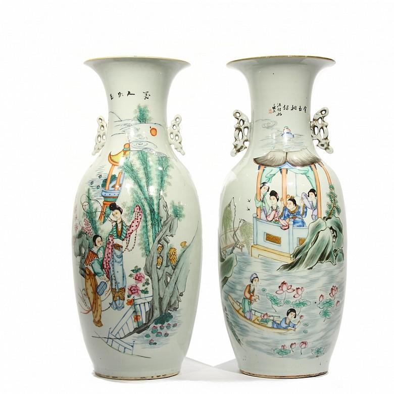 Pareja jarrones de cerámica esmaltada, familia verde, China, s.XIX