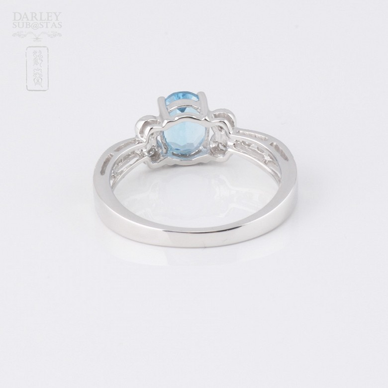 Ringwith topaz 1.03 cts and  diamonds in 18k white gold - 1
