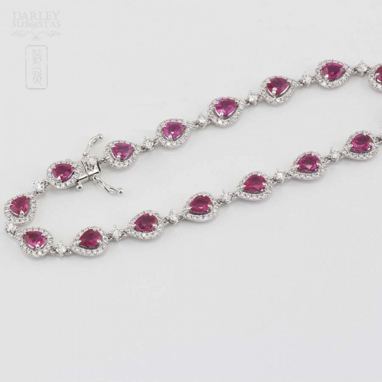 18k white gold bracelet with rubies and diamonds. - 4