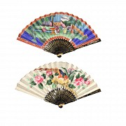 Chinese fan with hand painted paper, 19th century.