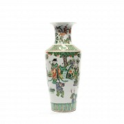 Chinese vase famille verte decorated with wiseman scenes.