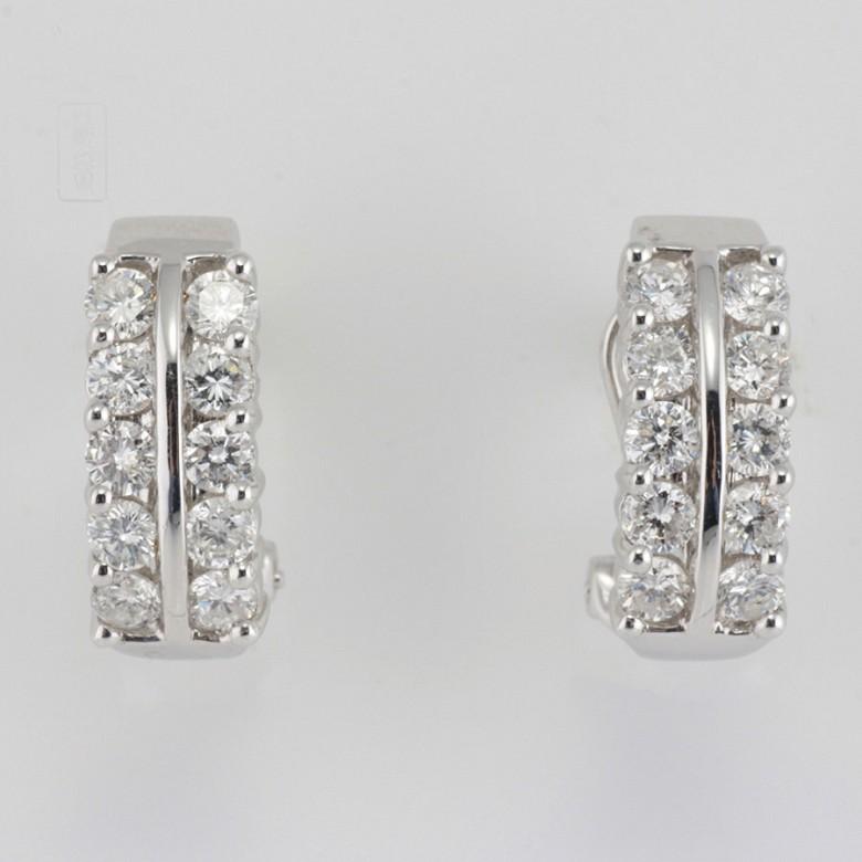 18k白金镶1.82克拉钻石耳环 - 4