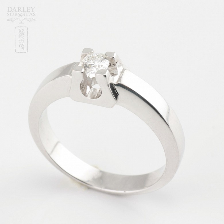 0.16cts diamond solitaire 18k White Gold - 1