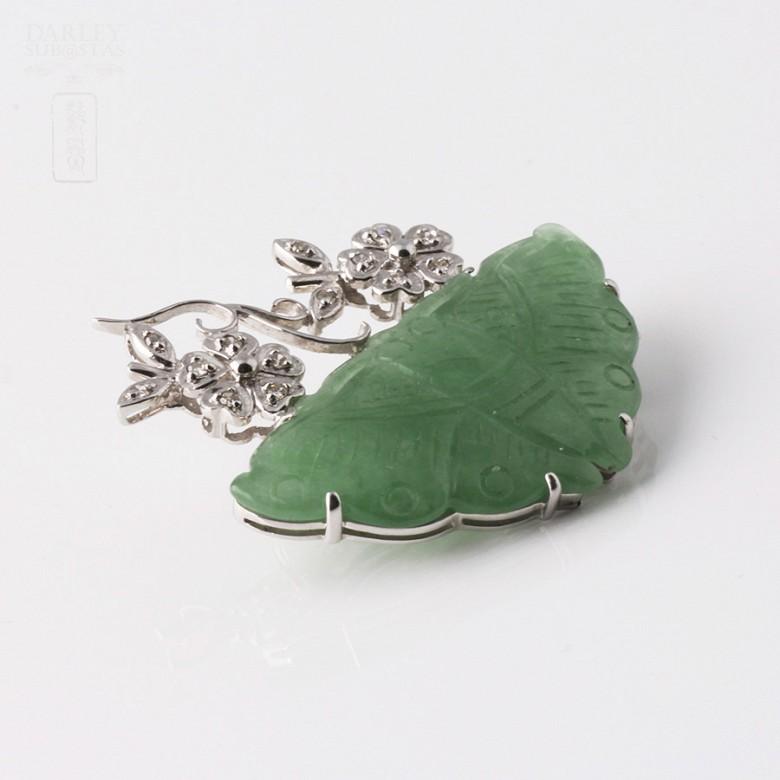 蝶型玉配钻石18K白金胸针 - 1