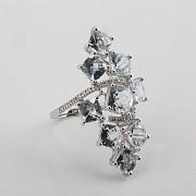 18K白金嵌7.42克拉海蓝宝石镶钻石戒指 - 3