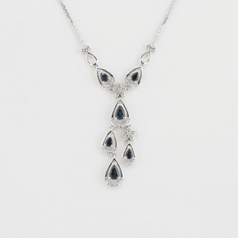 Precious necklace 18k white gold, sapphires and diamonds - 5