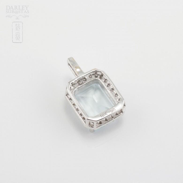 Pendant  Aquamarine2.72cts in white gold and diamonds - 2