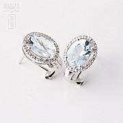 2.94克拉海蓝宝石配钻石18K白金耳环 - 3