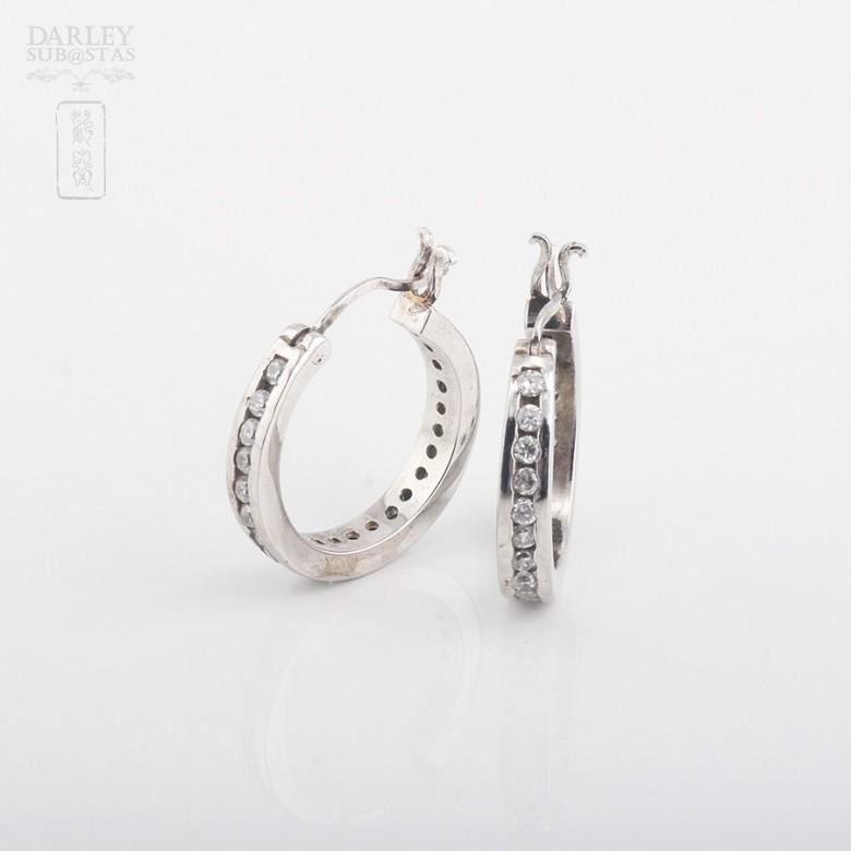 925银镀白金镶圆锆石耳环 - 1