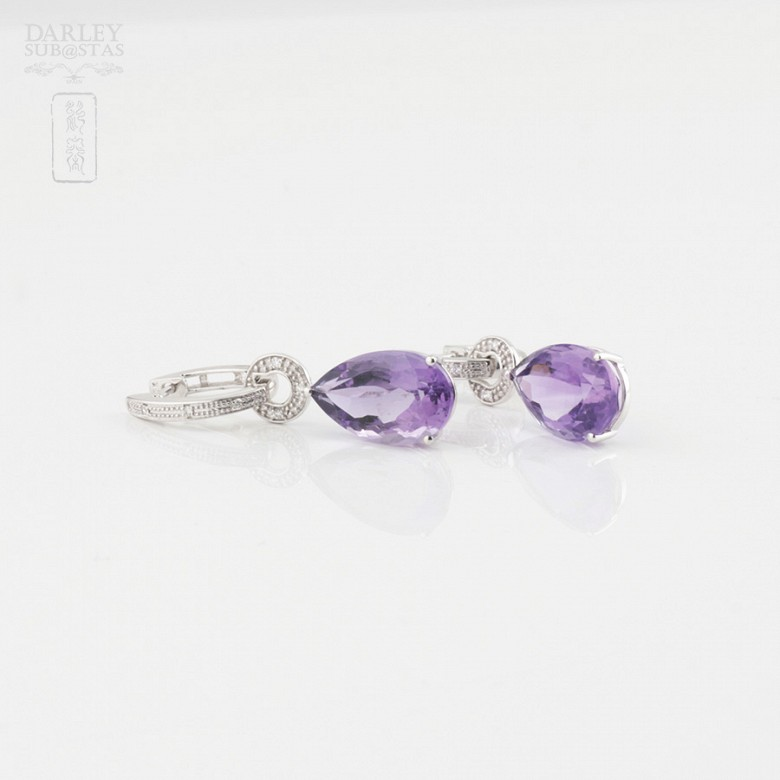 18k白金镶紫晶配钻石耳环 - 2