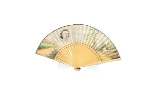 Fan with wooden linkage, painted fabric.
