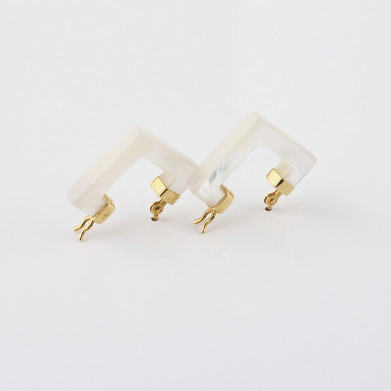天然珍珠母配18K黄金耳环 - 3